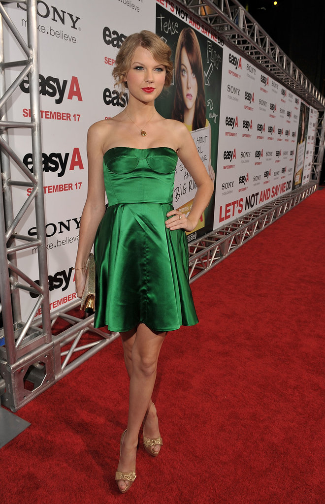 For the 2010 LA premiere of Easy A, Swift had us green with envy in a satin emerald mini.