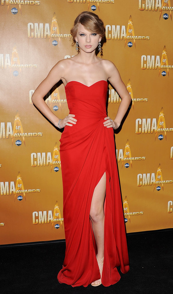 Taylor has an indisputable love for red and clearly the feeling is mutual. The star glowed in a strapless Monique Lhuillier gown in November 2010.