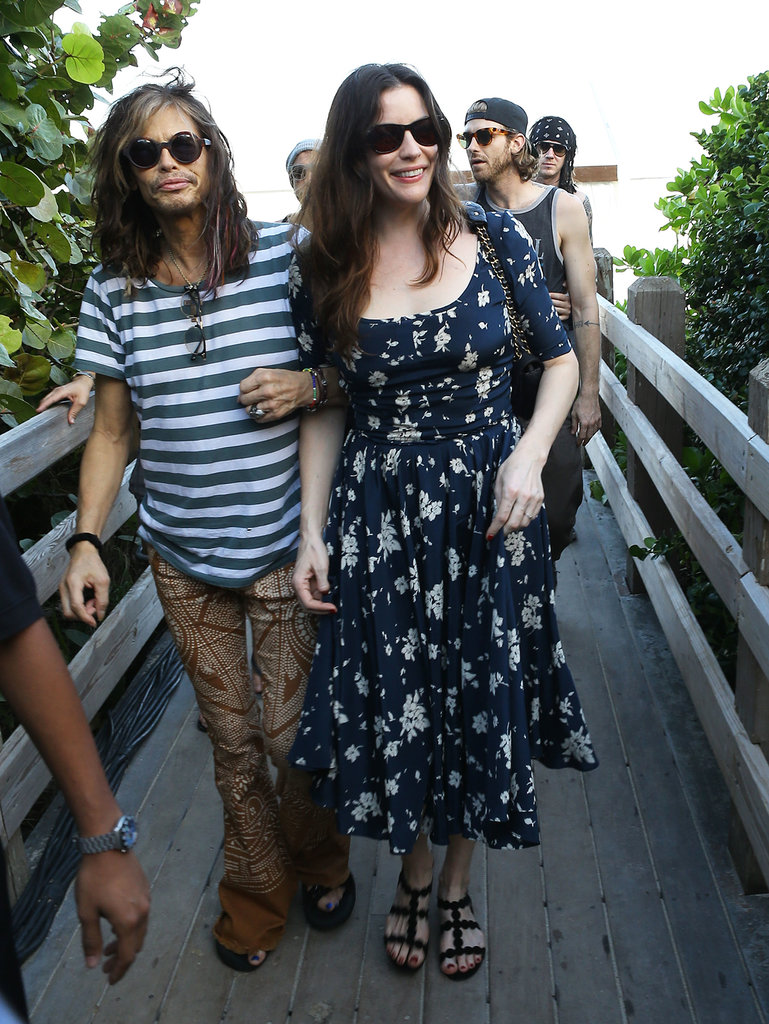 Steven Tyler and his daughter Liv Tyler strolled around Miami in similar sunglasses.