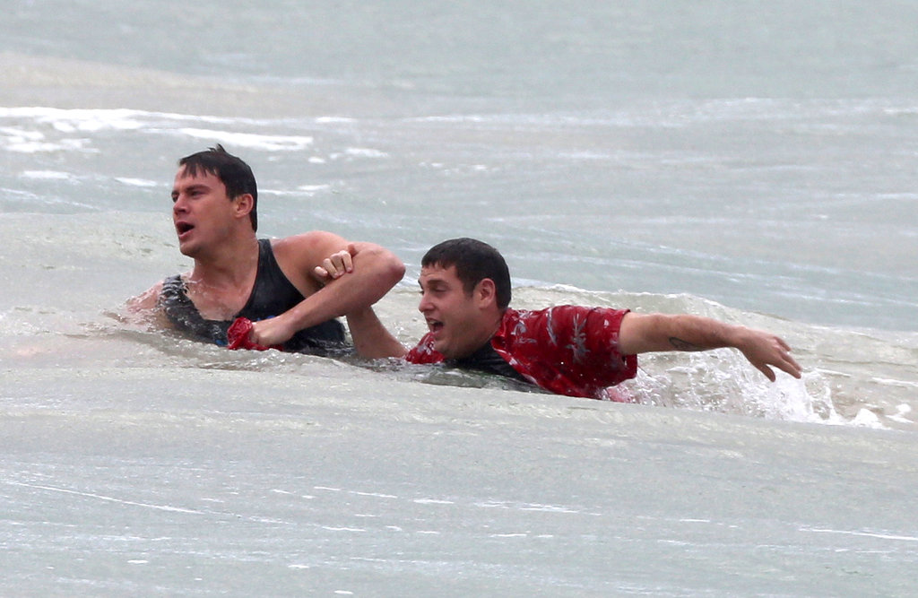 Jonah Hill and Channing Tatum filmed water scenes on the beach in Puerto Rico for 22 Jump Street on Wednesday.