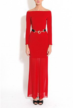 Red Jersey and Mesh Off the Shoulder Maxi Dress with Belt Detail