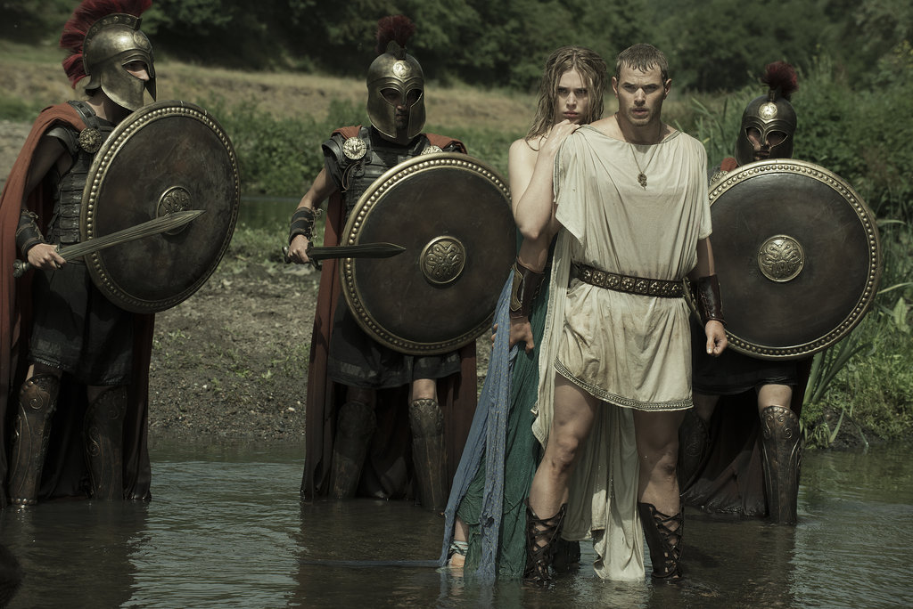 Hercules and his lady (Gaia Weiss) wade into some water.
