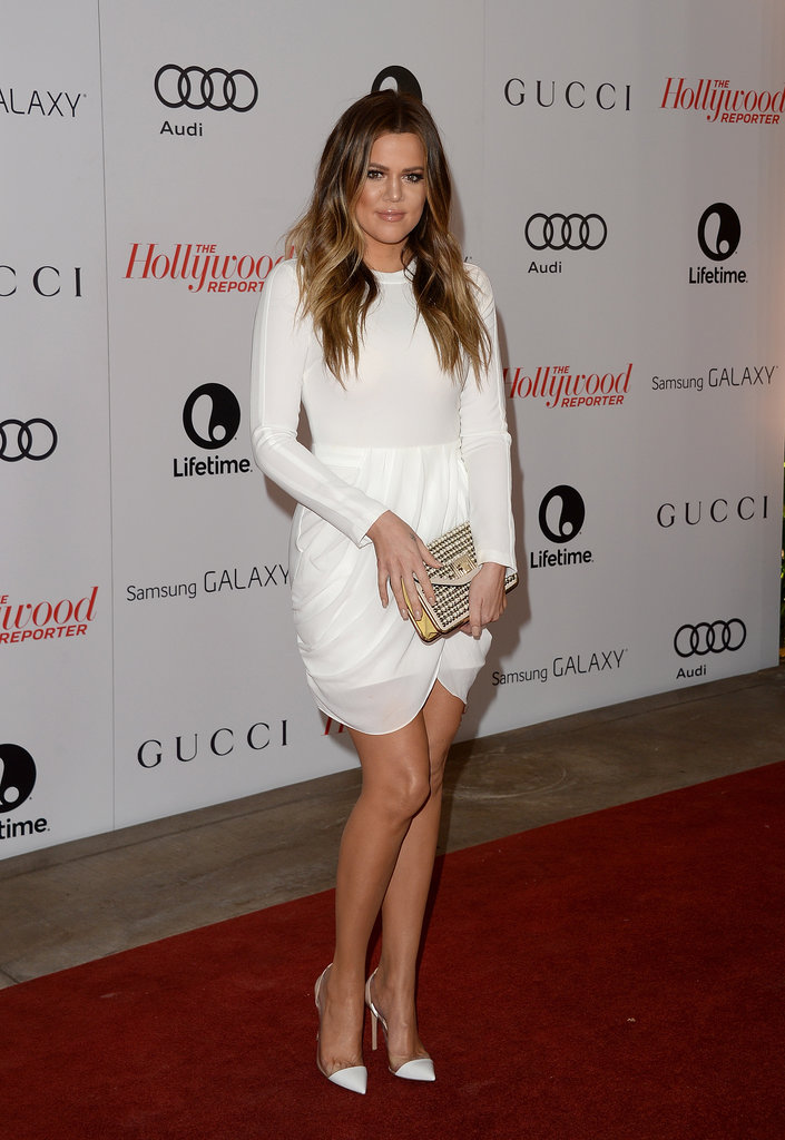 Khloé Kardashian went with an all-white ensemble.