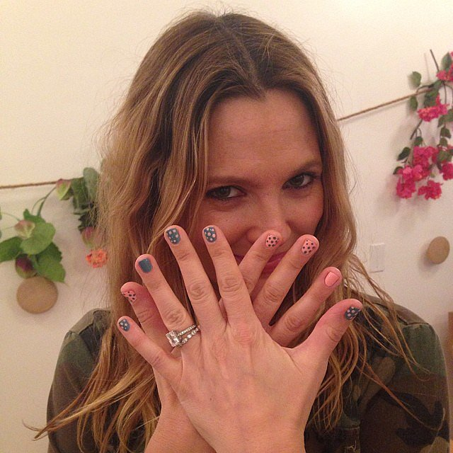 Drew Barrymore shared a photo of her fun, festive manicure — we're seriously thinking about copying it! Source: Instagram user drewbarrymore