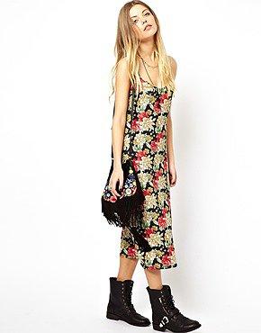 Image 4 ofASOS Reclaimed Vintage Slip Dress in Strappy Back in Big Floral