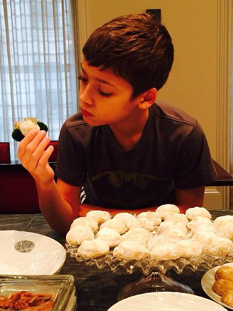 Joaquin Consuelos was the Christmas cookie inspector during their family baking session. Source: Twitter user KellyRipa