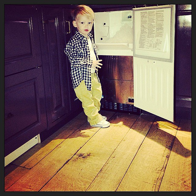 Luca Comrie was just chilling by the family's ice machine. Source: Instagram user hilaryduff