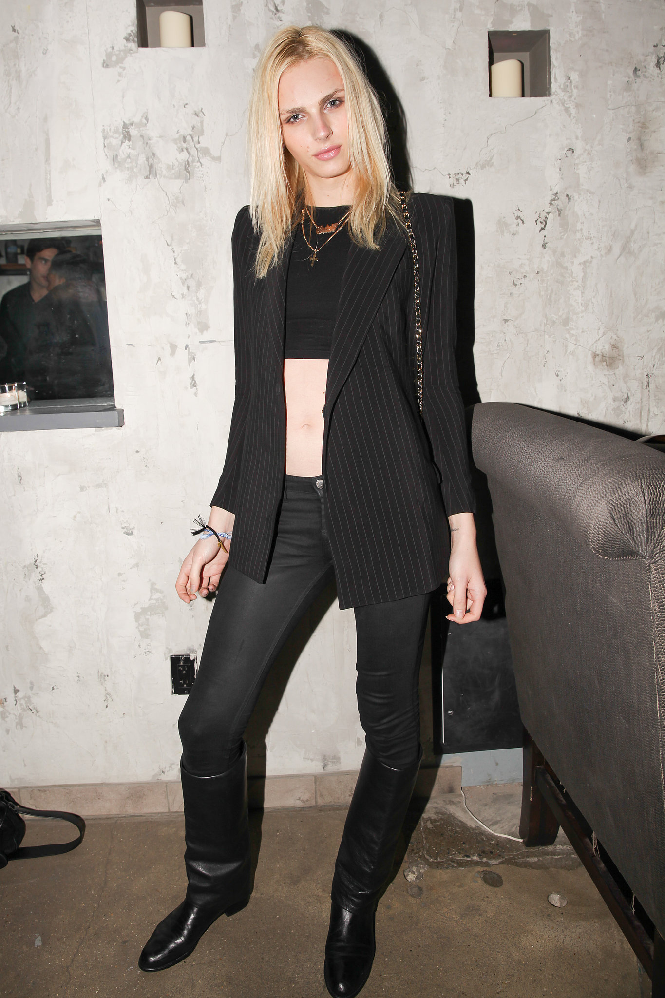 Andrej Pejic at the opening of Backbar in New York.