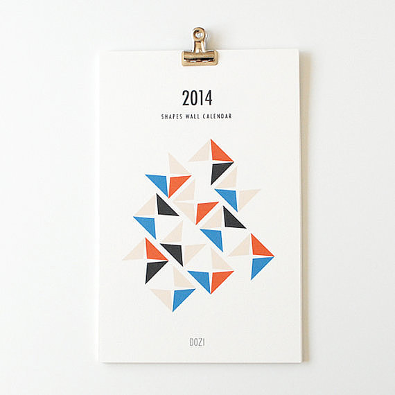 Fitting for a modern space, this geometric calendar ($22) looks especially sharp when hung by a clipboard.
