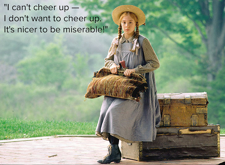 "Anne Shirley Lucy Maud Montgomery's Anne of Green Gables follows 11-year-old Anne Shirley, who despite having a rough early life as an orphan is sweet, hardworking, enthusiastic about life, and imaginative. She's definitely one of our favorite redheaded female protagonists! Quoted: ""I can't cheer up — I don't want to cheer up. It's nicer to be miserable!"" Source: Sullivan Entertainment"