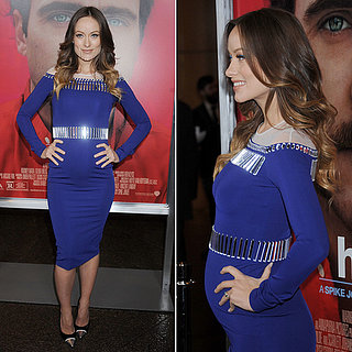 Olivia Wilde Pregnant Blue Dress