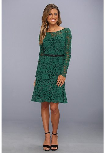 Donna Morgan - Three-Quarter Sleeve Lace Dress w/Flounce Hem (Deep Emerald) - Apparel