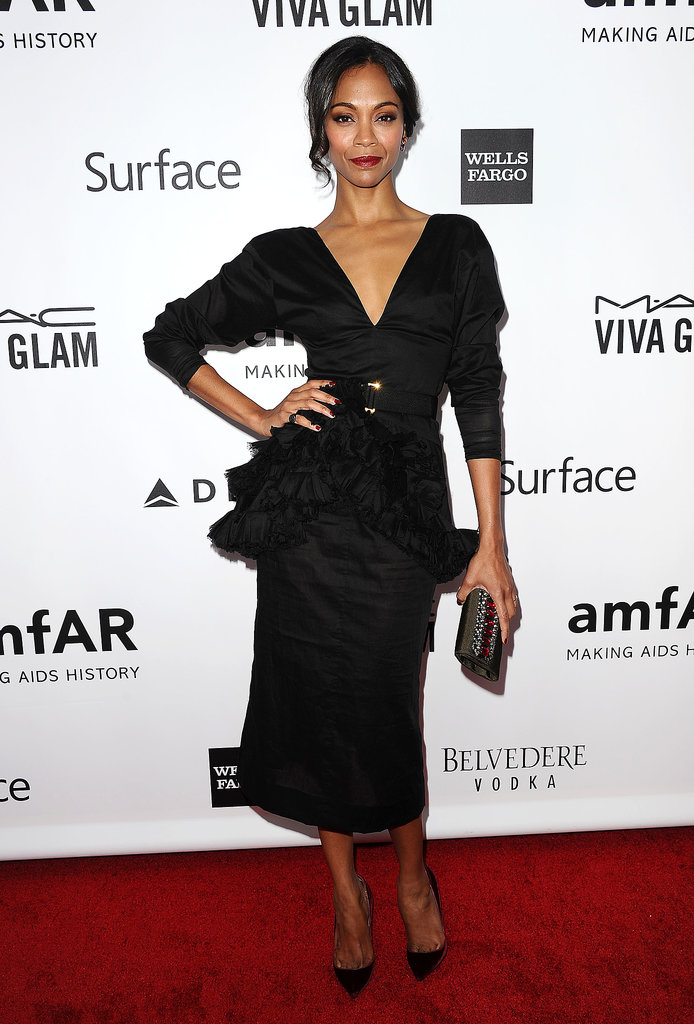 At the amfAR Inspiration Gala, the only thing more stellar than the plunging back of Zoe Saldana's Marni dress was the front, which highlighted the design's ruffled peplum.