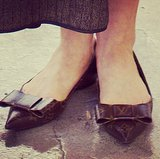 Our Instagram followers immediately took to this detail of Dita Von Teese's Louis Vuitton flats.