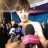 We caught up with Anne Hathaway at NBC's Golden Globes afterparty!