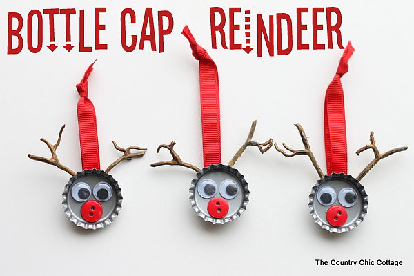 Bottle-Cap Reindeer Ornaments