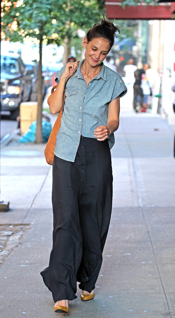 Mastering the one-sided tuck in a chambray shirt and front-button maxi in June 2012.
