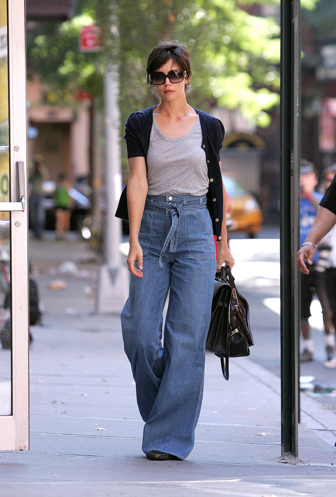 The star of Katie's August 2008 style? Her high-waisted, wide-leg denim, of course!