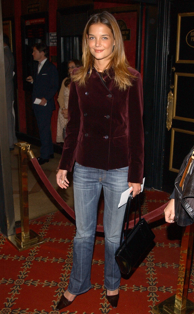 Katie's velvet blazer added a luxe touch to her whiskered denim in September 2002.