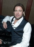 Brad Pitt got comfortable during the Moneyball premiere afterparty in Oakland, CA, in September 2011.