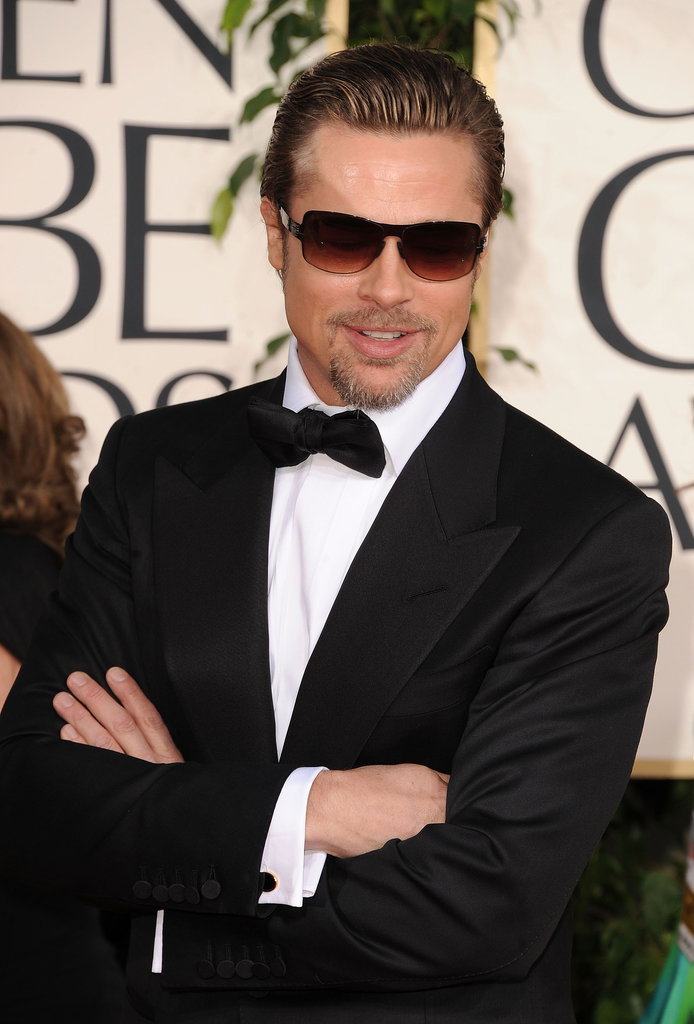 Brad Pitt pulled the bad-boy card on the Golden Globes red carpet in LA January 2011.