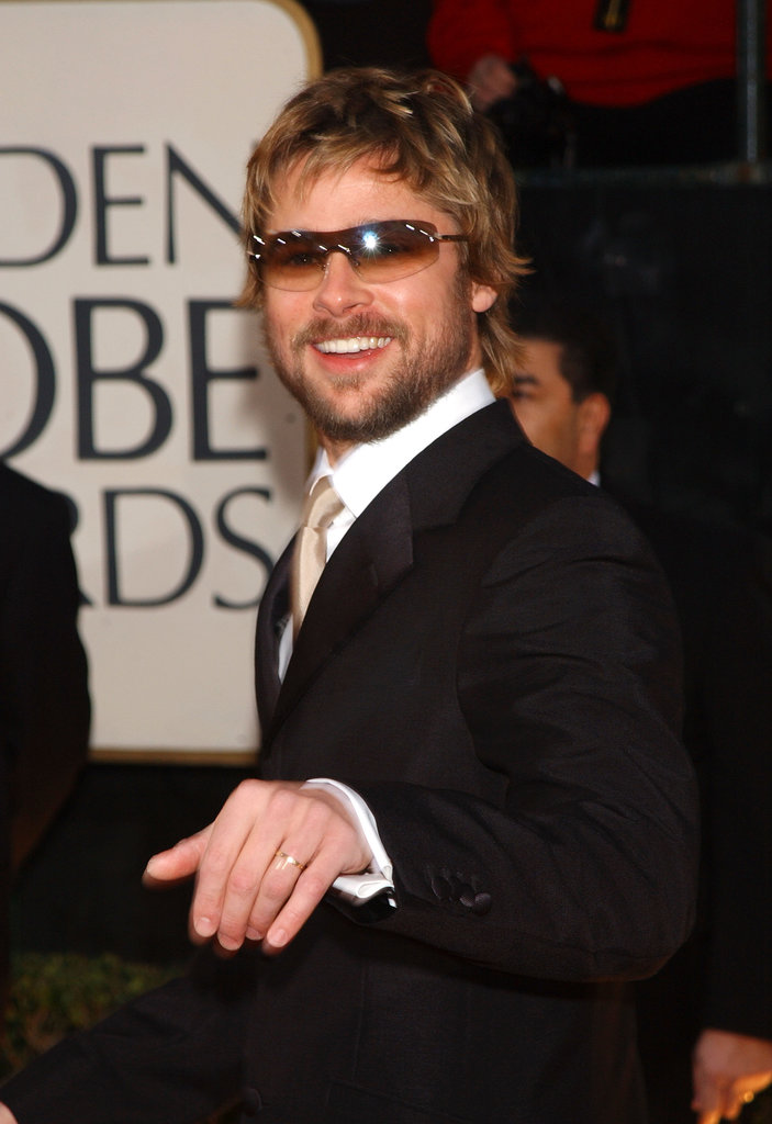 Brad Pitt gave a casual wave to the camera as he arrived at the Golden Globes in January 2002.