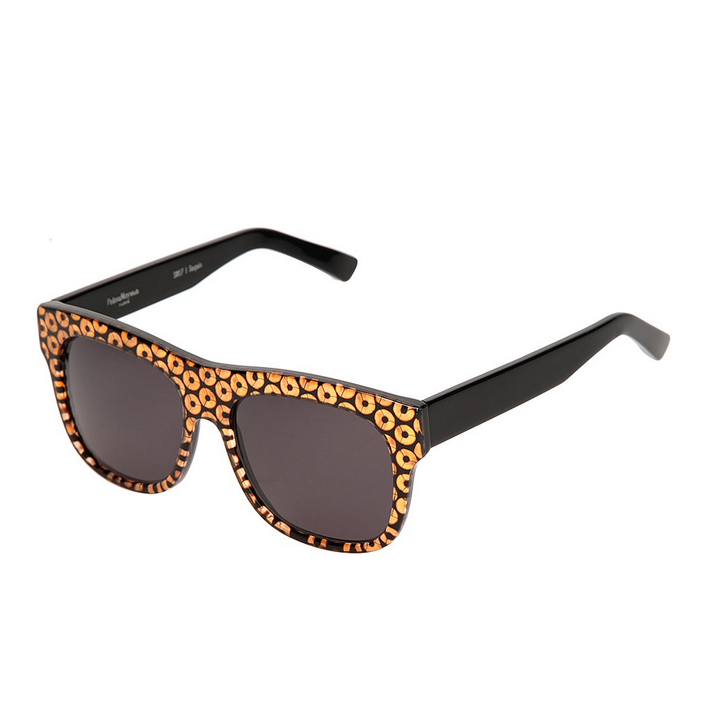 Thanks to Peter & May Walk, even your sunglasses ($474) can come bedazzled with gold sequins.