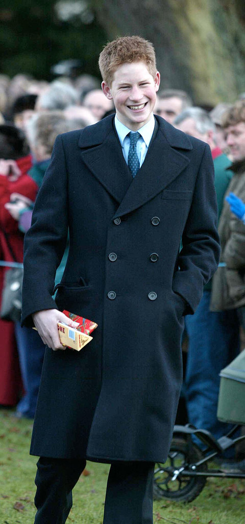 Prince Harry received gifts from visitors after a Christmas Day service in 2001.