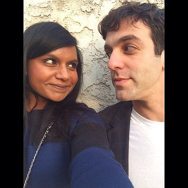 Mindy Kaling shared a sweet on-set moment with B.J. Novak. Source: Instagram user mindykaling