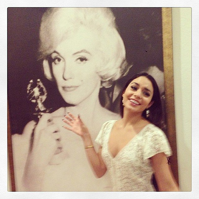 Vanessa Hudgens posed in front of Golden Globe-toting Marilyn Monroe. Source: Instagram user vanessahudgens