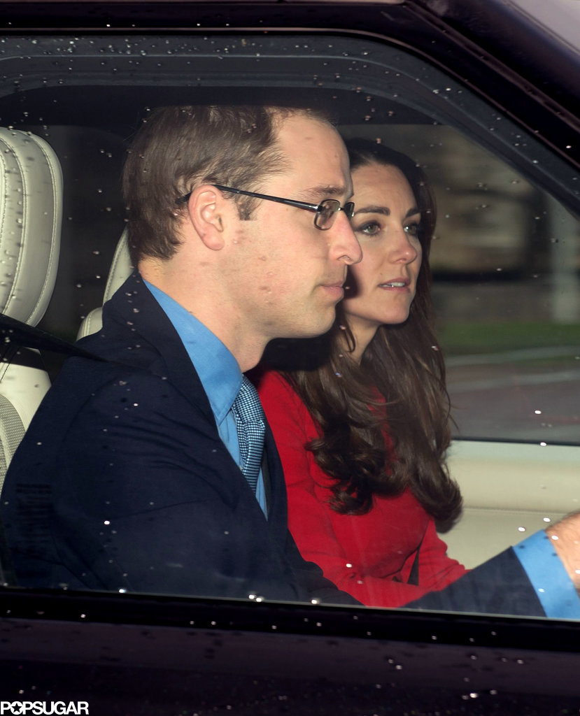 Kate Middleton wore a red coat to the pre-Christmas lunch.