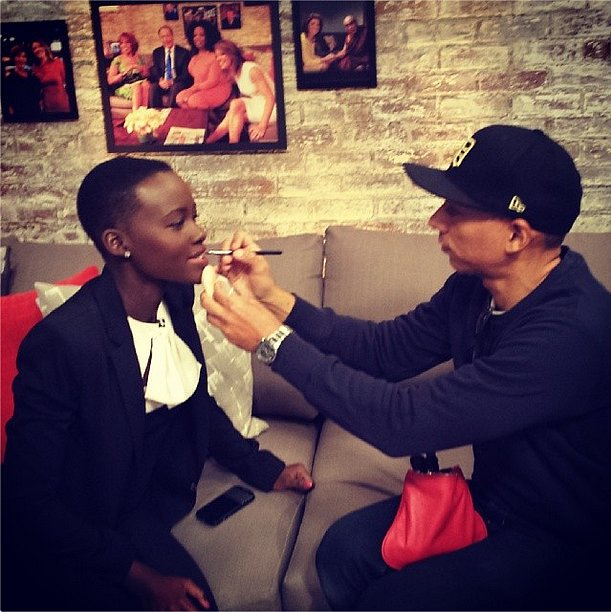 Lupita Nyong'o got a last-minute touch-up before an interview. Source: Instagram user lupitanyongo