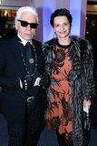 Karl Lagerfeld and Juliette Binoche at the charity dinner hosted by the AEM Association Children of the World For Rwanda.
