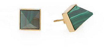 PAVLOV EARRING - gold with malachite