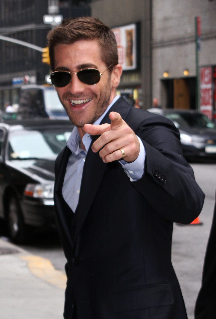 "Jake did his best ""hey, girl"" while arriving for an appearance on the Late Show in NYC in May 2010."