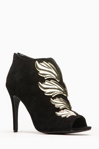 Anne Mitchell Black Mercury Winged Peep Toe Booties @ Cicihot Heel Shoes online store sales:Stiletto Heel Shoes,High Heel Pumps,