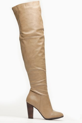 Doll House Over The Knee Chunky Heel Taupe Boots @ Cicihot Boots Catalog:women's winter boots,leather thigh high boots,black pla