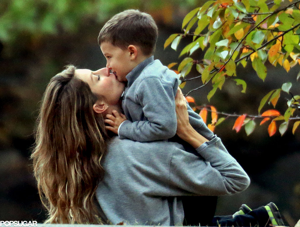 Gisele Bündchen showered her stepson, Jack, with kisses during an October trip to a Boston park.