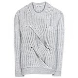 Even when the inevitable boredom strikes after wearing sweaters for two months straight, the unique sculptural detailing on this Carven chunky-knit wool sweater ($494) makes it the piece I'll still look forward to wearing.  — HW