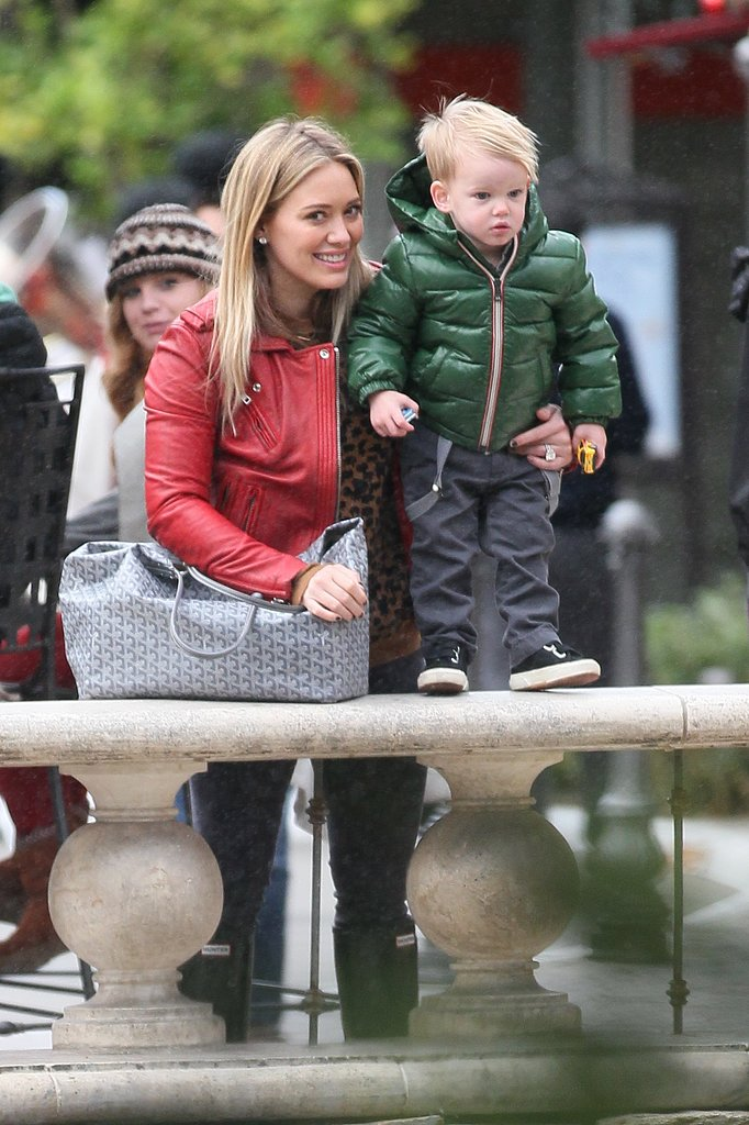 Hilary Duff and her son, Luca Comrie, were coordinated cuties in festive coats out in LA.