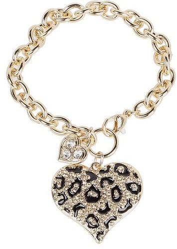GUESS - Guess Gone Wild Animal Print Heart Charm Bracelet (Gold/Leopard) - Jewelry