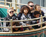 Heidi Klum and her boyfriend, Martin Kristen, took her four kids — Leni, Henry, Johan, and Lou Samuel — on a trolley ride at The Grove in LA.