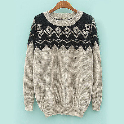 Contrast color zigzag diamond fuzzy loose preppy sweater pullover