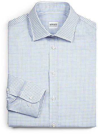 Armani Collezioni Large Check Cotton Dress Shirt