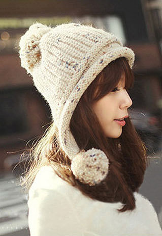 Image of [grzxy61800009]Cute Sweet Leisure Solid Color Fringe Pompom Beanie