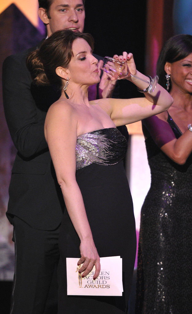 Tina Fey knocked one back on stage at the SAG Awards in January 2012.