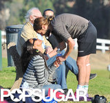 Zoe Saldana and Marco Perego showed cute PDA during his soccer game in LA.