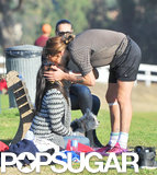 Marco Perego gave Zoe Saldana a sweet smooch during his soccer game in LA.