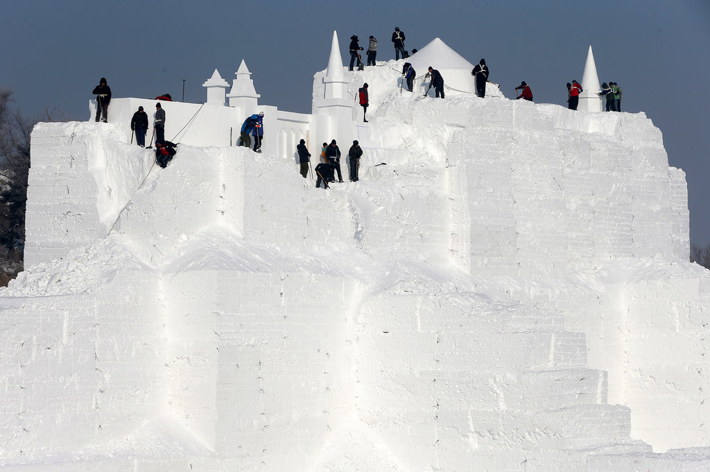 Workers were still carving out a large castle.