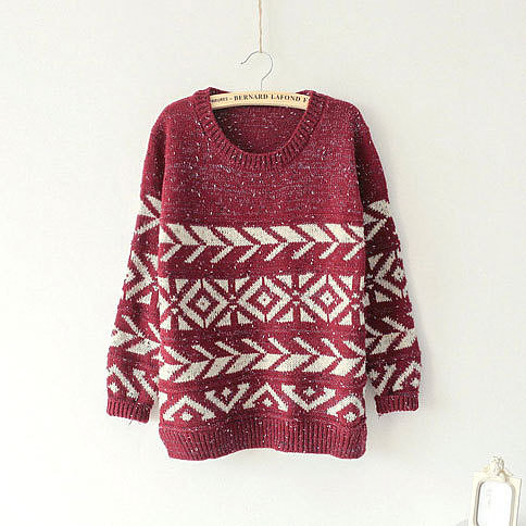 Image of [grxjy560727]Vintage Mixed Color Snowflakes Geometric Pattern Split Crewneck Sweater Pullover